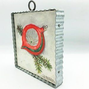 Sparkly Ornament and Pine Wall Art Galvanized Fram